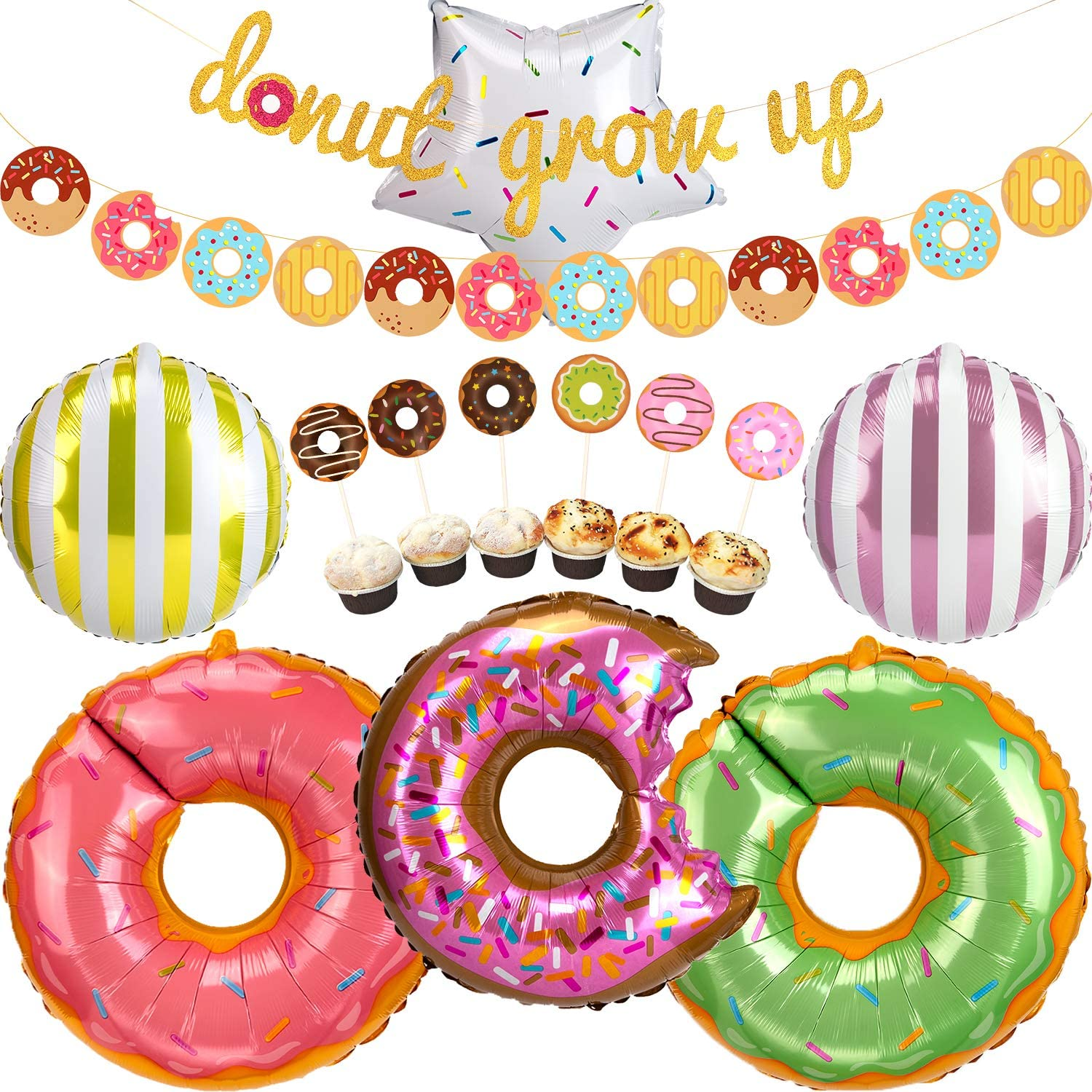 AIEX 14 Pcs Donut Party Supplies Kit, Glitter Donut Grow Up Banner Donut Foil Balloons Donut Cupcake Toppers for Donut Party Favors Baby Shower Birthday Party Decorations