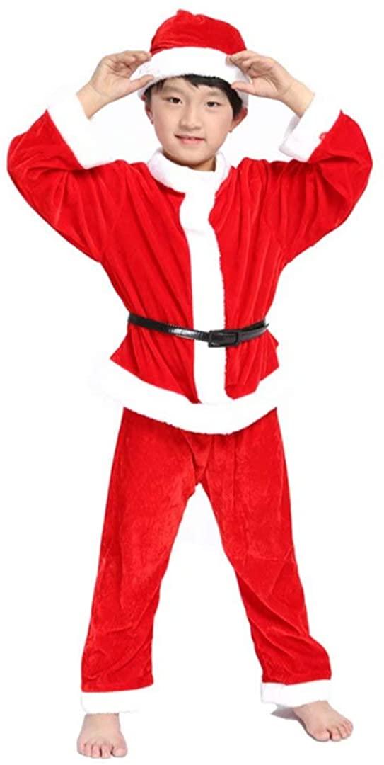 Christmas santa costume kids Santa Fancy Dress for boys with Santa Hat
