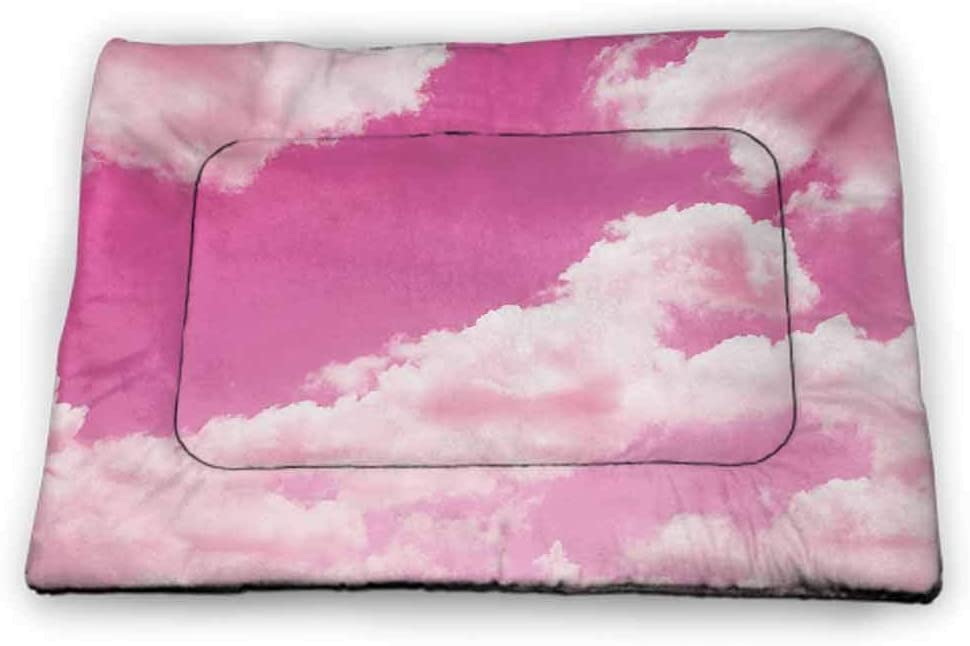 DayDayFun Coral Patterned Pet Pad Pastel Glitch Concept Distortion Effect Abstract Pattern Random Diagonal Lines Pet Mats for Food and Water Coral Purple Pink