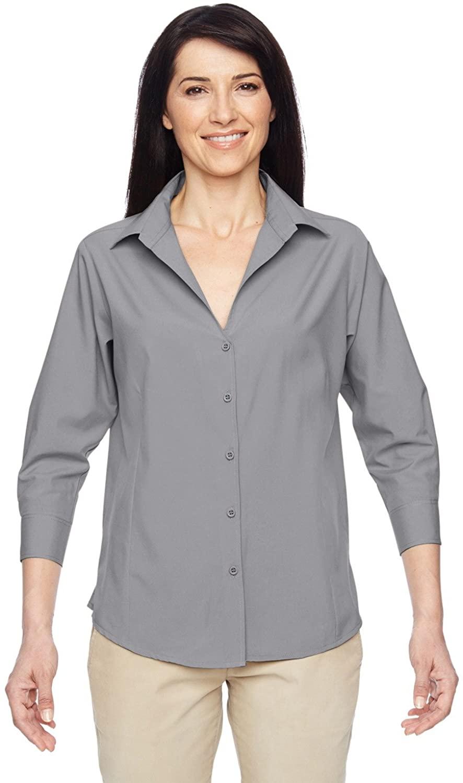 Product of Brand Harriton Ladies Paradise 3/4-Sleeve Performance Shirt - Dark Grey - M - (Instant Savings of 5% & More)