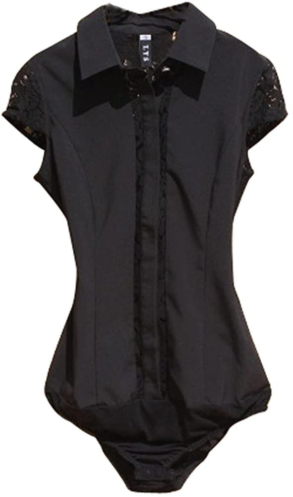 ZAMME Women's Classic Short Sleeve Bodysuit Blouse Lace Shirt One-Piece