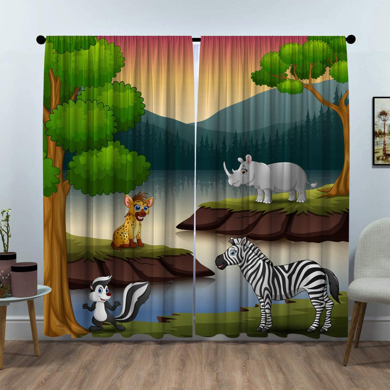 SeptSonne Kids Room Window Curtain Panels Drapes Vector of Wild Animals Enjoy Nature in The Lake Kids Curtains Blackout Artwork Customized Curtains W63 xL63