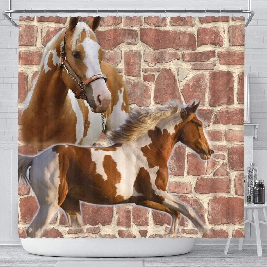 Paws With Attitude American Paint Horse Print Shower Curtains