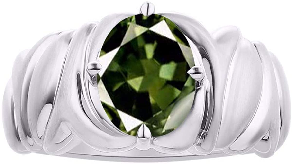 RYLOS Solitaire Gemstone Green Sapphire Ring - September Birthstone