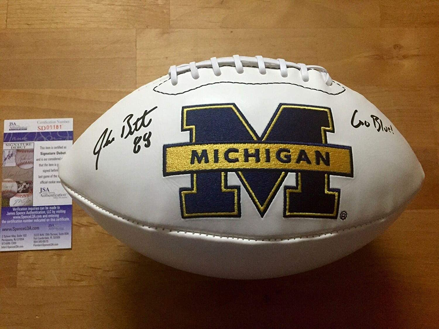 Jake Butt Signed Michigan Wolverines Football Coa - JSA Certified - Autographed College Footballs