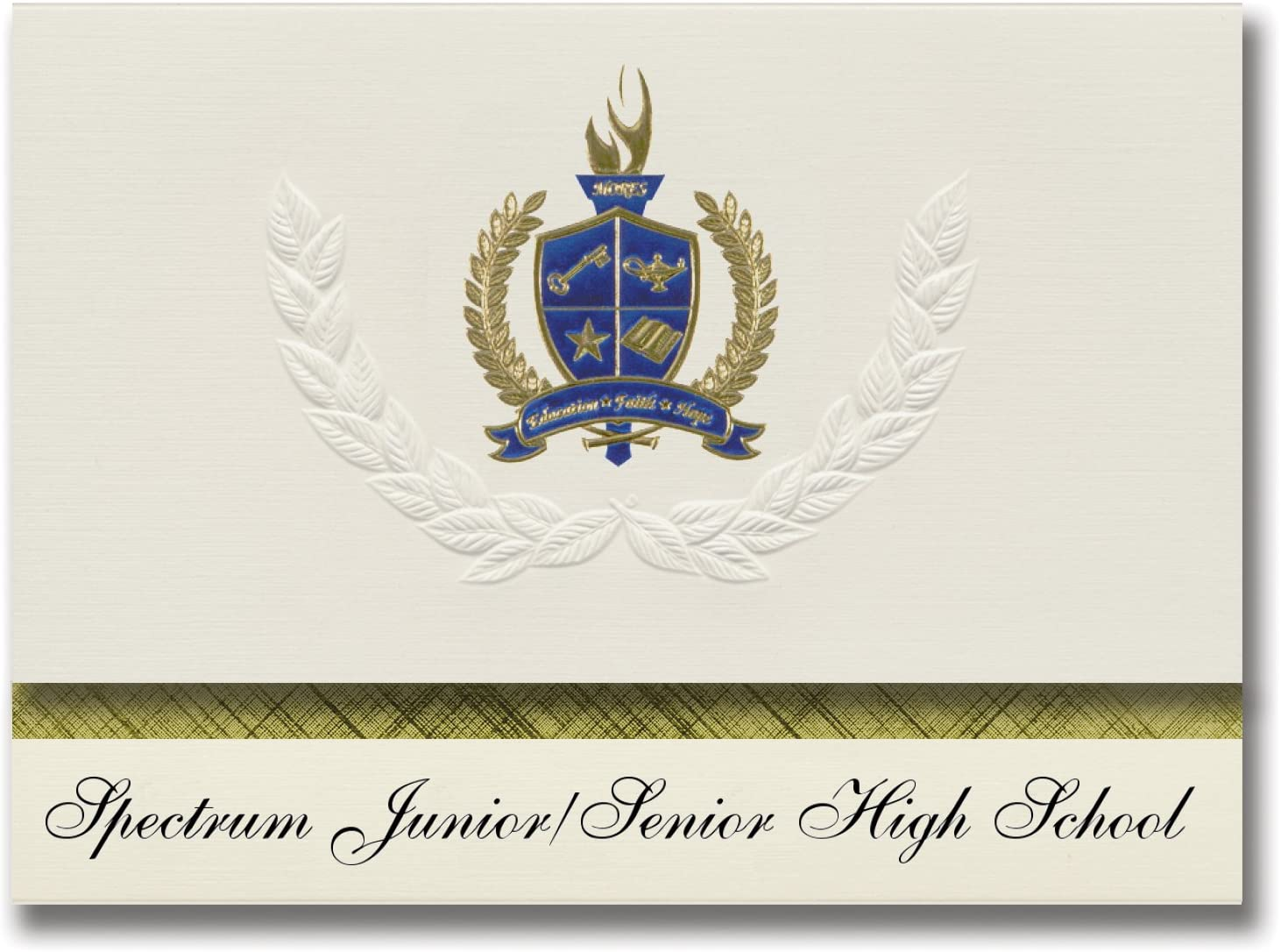 Signature Announcements Spectrum Junior/Senior High School (Stuart, FL) Graduation Announcements, Presidential style, Basic package of 25 with Gold & Blue Metallic Foil seal