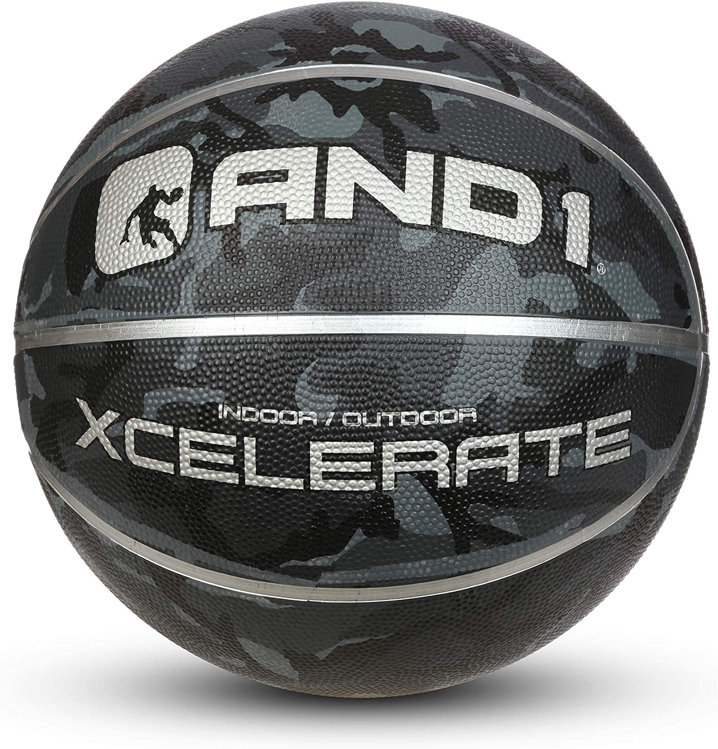 """AND1 Xcelerate Rubber Basketball: Game Ready, Regulation Size 7 (29.5"""") Streetball, Made for Indoor/Outdoor Basketball Games- Black Camo"""