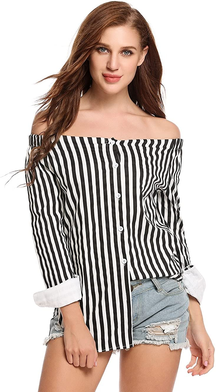 Zeagoo Women Sexy One Word Collar Vertical Stripes Button Down Long Sleeves Shirt