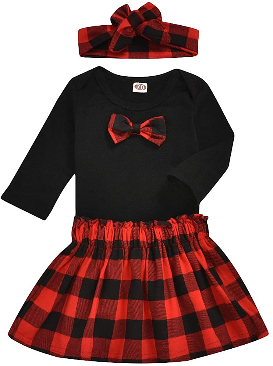 Newborn Inant Baby Girls Outfit Set Bow Bodysuit Red Plaid Skirt Headband 3Pcs Christmas Clothes