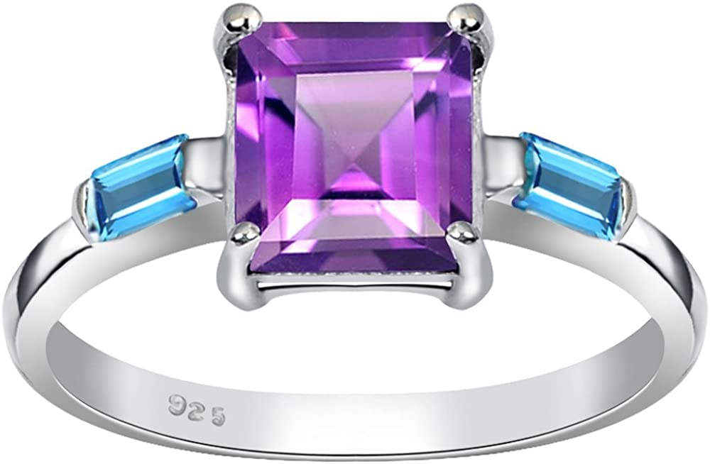 2.15 Ct Square Purple Amethyst, Topaz Halo 925 Sterling Silver Ring For Women By Orchid Jewelry : A Perfect Birthstone For February