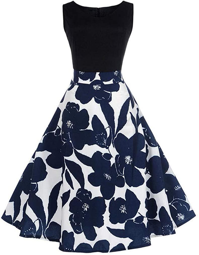V Collar Music Print Sleeveless Dress Summer Big Swing 50S 60S Vintage Dresses Elegant Party Patchwork Dress