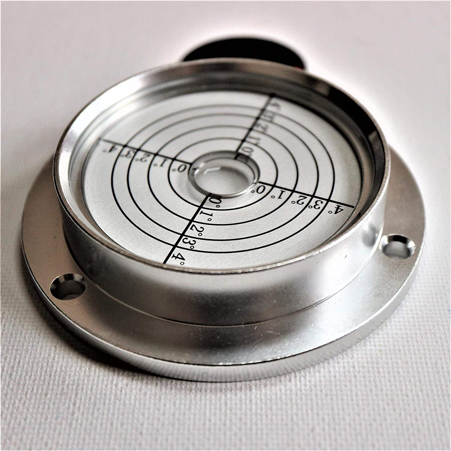 Large Flanged Metal Circular Angle Spirit Bubble Degree Level 71mm Diameter with Degree Marking, 2 51/64