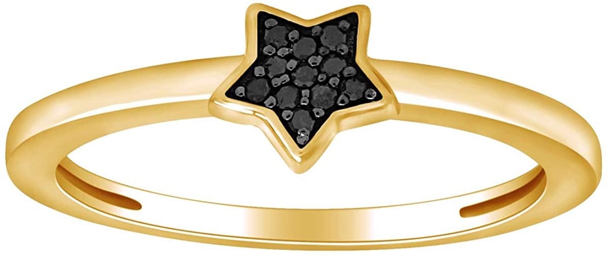 Color Enhanced Black Natural Diamond Accent Star Ring in 14k Gold Plated 925 Sterling Silver For Women (0.03 Cttw, I2-I3 Clarity)