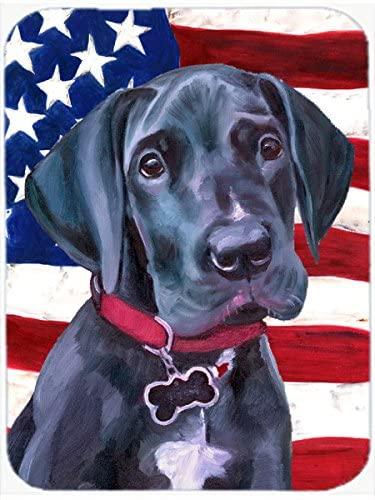 Caroline's Treasures LH9544LCB Black Great Dane Puppy USA Patriotic American Flag Glass Cutting Board Large, 12H x 16W, multicolor