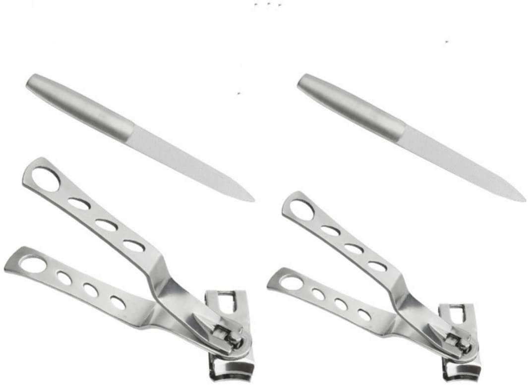Nail Clippers with 360-Degree Rotating Head Stainless Steel Fingernails and Toenails Cutter Lagre and Small Size Bouns 2 Pack Diamond Nail File for Personal Hand/Foot Care, Manicure and Pedicure