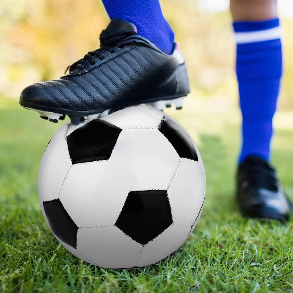 Vbestlife Traditional Soccer Ball Size 4, Black White Standard Classic Foam Football Soccer Ball Training Football Equipment School Toy