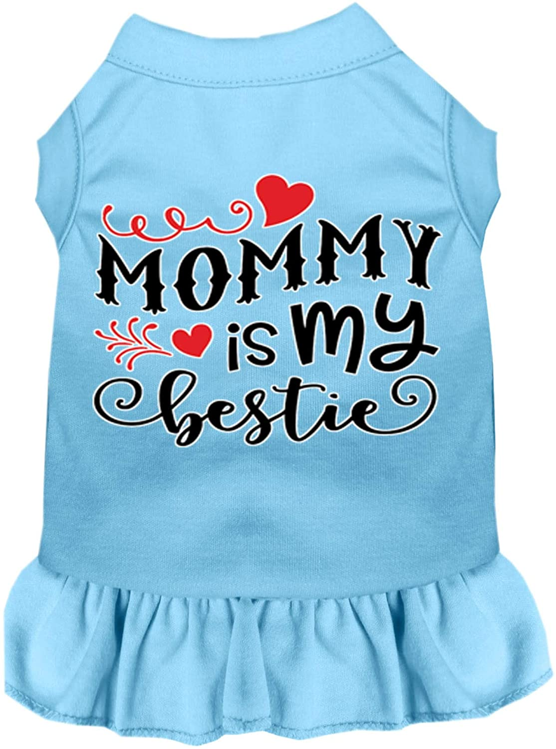 Mirage Pet Product Mommy is My Bestie Screen Print Dog Dress Baby Blue Sm (10)