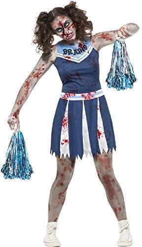 Teen & Older Girls Dead Zombie Bloody American Blue Cheerleader Halloween Fancy Dress Costume 12-16 Years