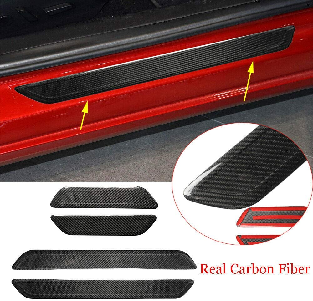 Real Carbon Fiber Door Sill Plate Guard Cover Fit for Tesla Modle 3 2018-2019
