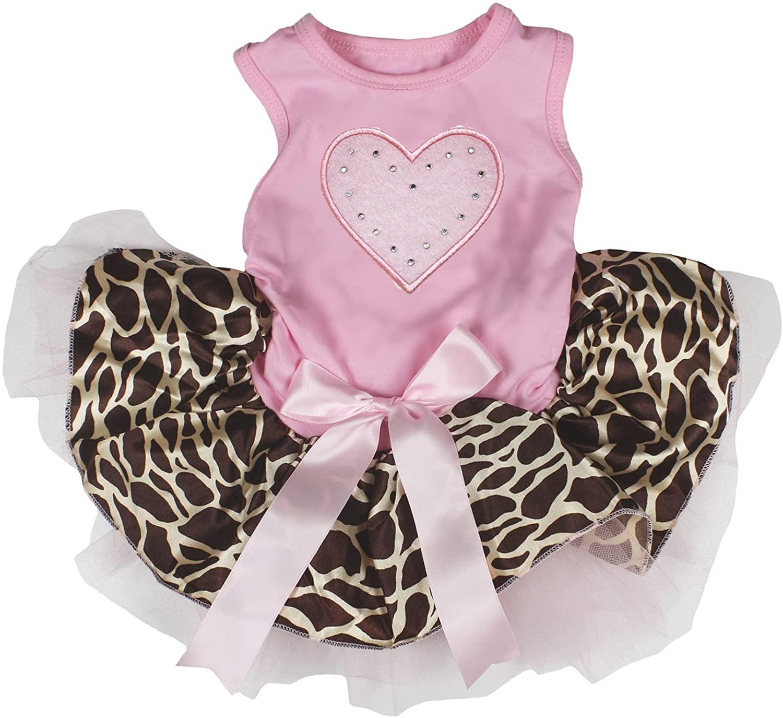 Petitebella Pink Heart Pink Shirt Pink Giraffe Tutu Puppy Dog Dress