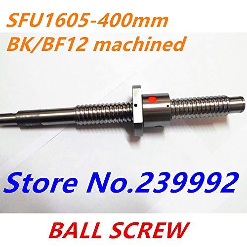 Ochoos SFU1605 400mm RM1605 400mm Rolled Ball Screw 1pc+1pc Ball nut for SFU1605 BK12/BF12 end machined