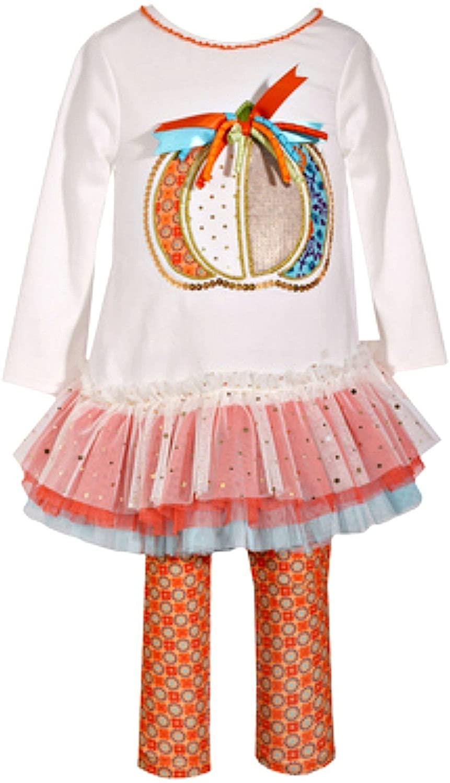 Baby Girls Long Sleeved Cute Ivory Pumpkin Thanksgiving Legging Set