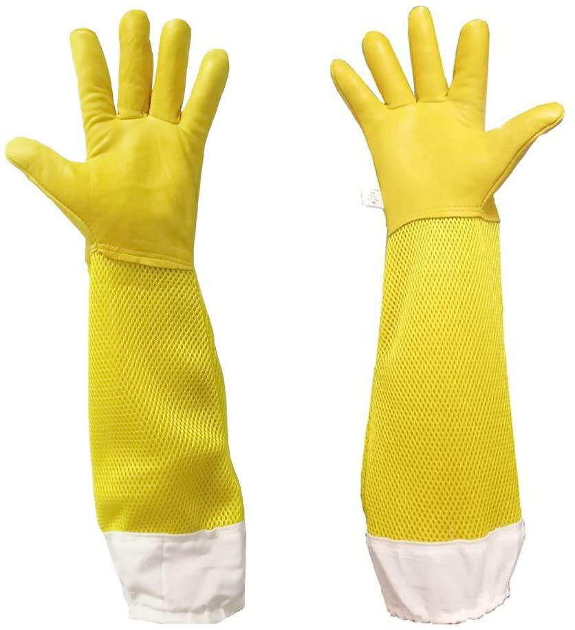 Premium Goatskin Beekeeping Gloves, Luwint Breathable Bee Beekeeper Gloves with Long Ventilated Mesh Sleeve and Elastic Cuffs for Beekeeping Gardening Work (X-Large, Yellow)