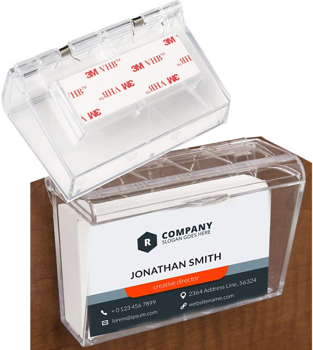 Wall Mounted Acrylic Business Card Holder with Cover | Lid Hinged, Outdoor, Fits 60, Clear