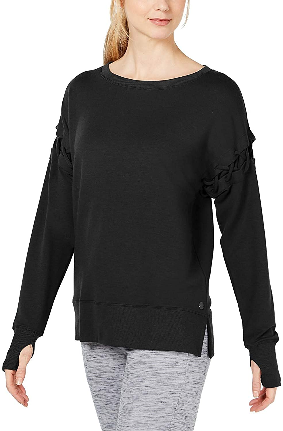 Ideology Women's Criss-Cross-Sleeve Top Noir 2XL