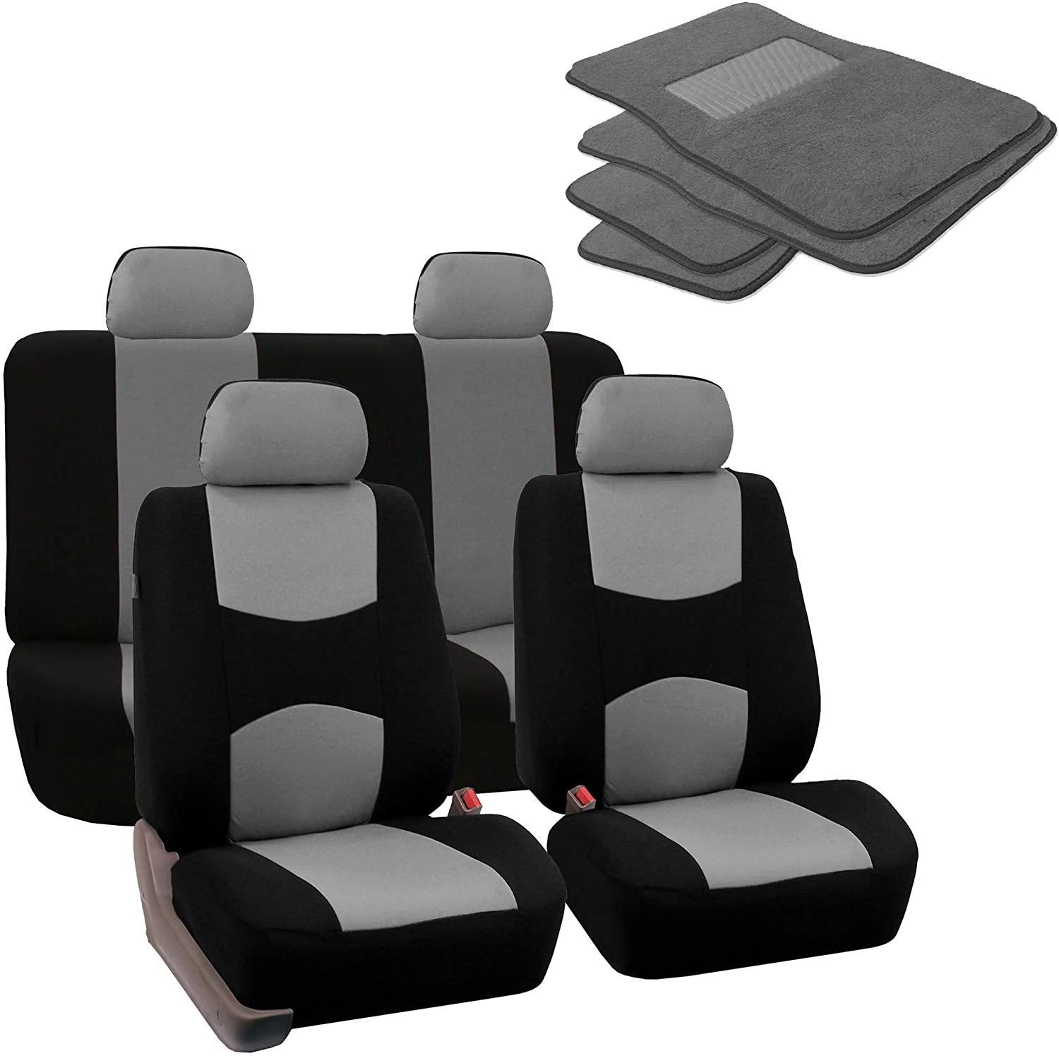FH Group FB050114 + F14403 Flat Cloth Seat Covers (Gray) Full Set – Universal Fit for Cars Trucks & SUVs