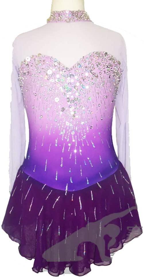 Purple Skating Wear Figure Skating Dress Women Girl Custommade Breathable Long Sleeve Professional Competition Skate Performance Costume,Purple-L
