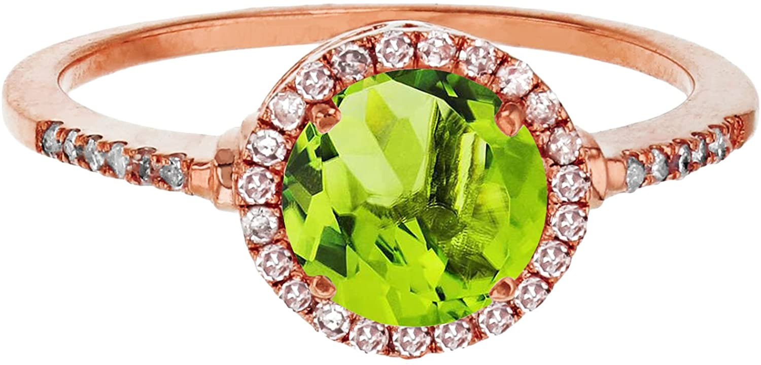 Sterling Silver Rose 7mm Round Peridot & Created White Sapphire Halo Ring