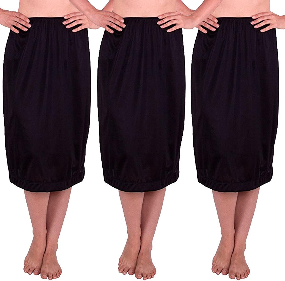 Under Moments Long Skirt (UM52029) Black, XL (Pack of 3)