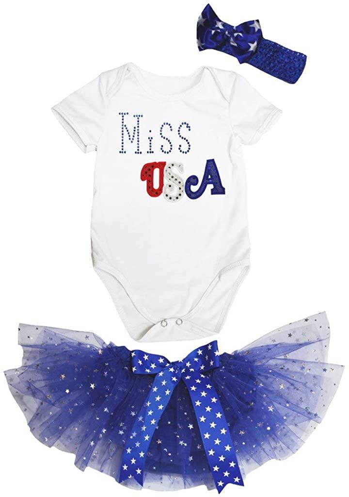 Petitebella Miss USA White Romper Blue Stars Baby Skirt Outfit Nb-12m