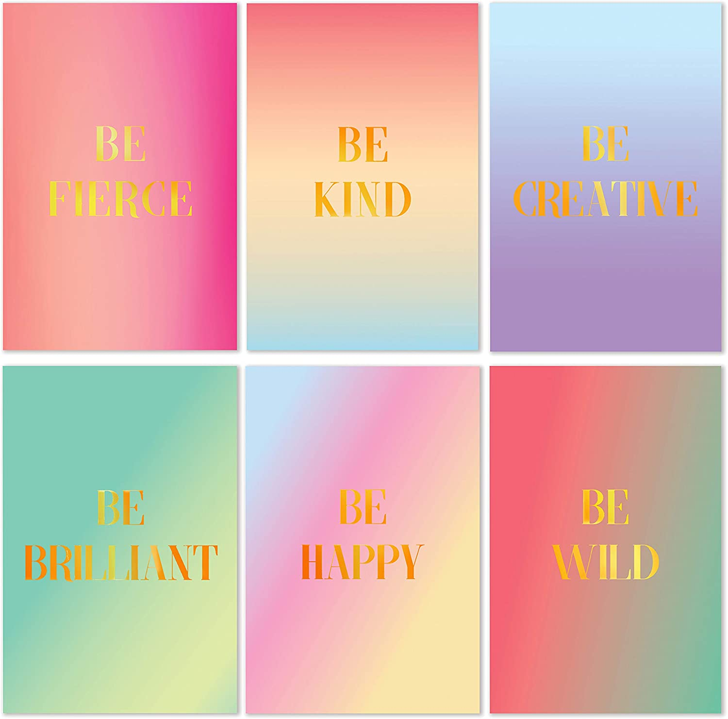 Cavepop Inspirational Greeting Cards Stationary Set, Thinking of You Encouragement Cards with Envelopes - 4 x 6 Inches - Pink, Blue and Purple Ombre with Gold Foil - 36 Pack (6 Designs)