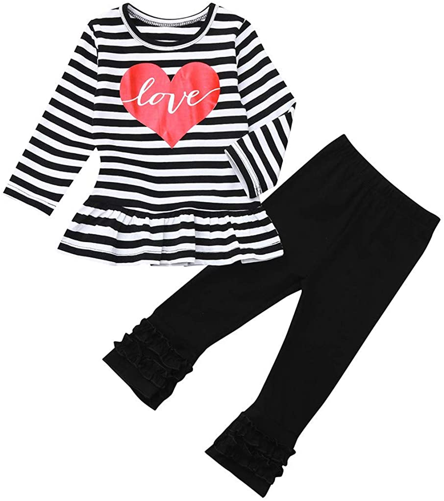 Hattfart Baby Girls Valentine's Day Outfits Toddler Kids Long Sleeve Love T Shirt+ Ruffle Pants Clothing Set
