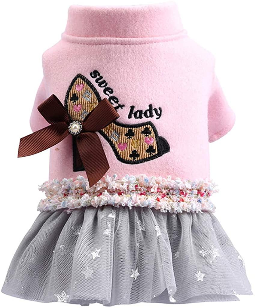 ZoePets High Heel Pet Princess Dress Autumn Winter Pet Clothing Bow Lace Lace Puppy Dress