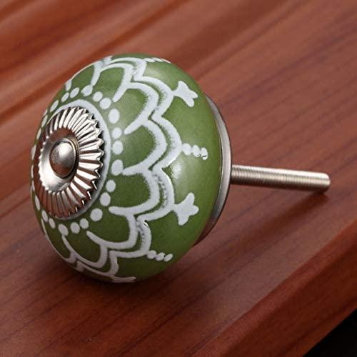 BOJI 1Pc 40mm Vintage Floral Prints Ceramic Handle Round Head European Knobs Door Handles Cupboard Drawer Kitchen Modern Pull Knob (Color : Color E)