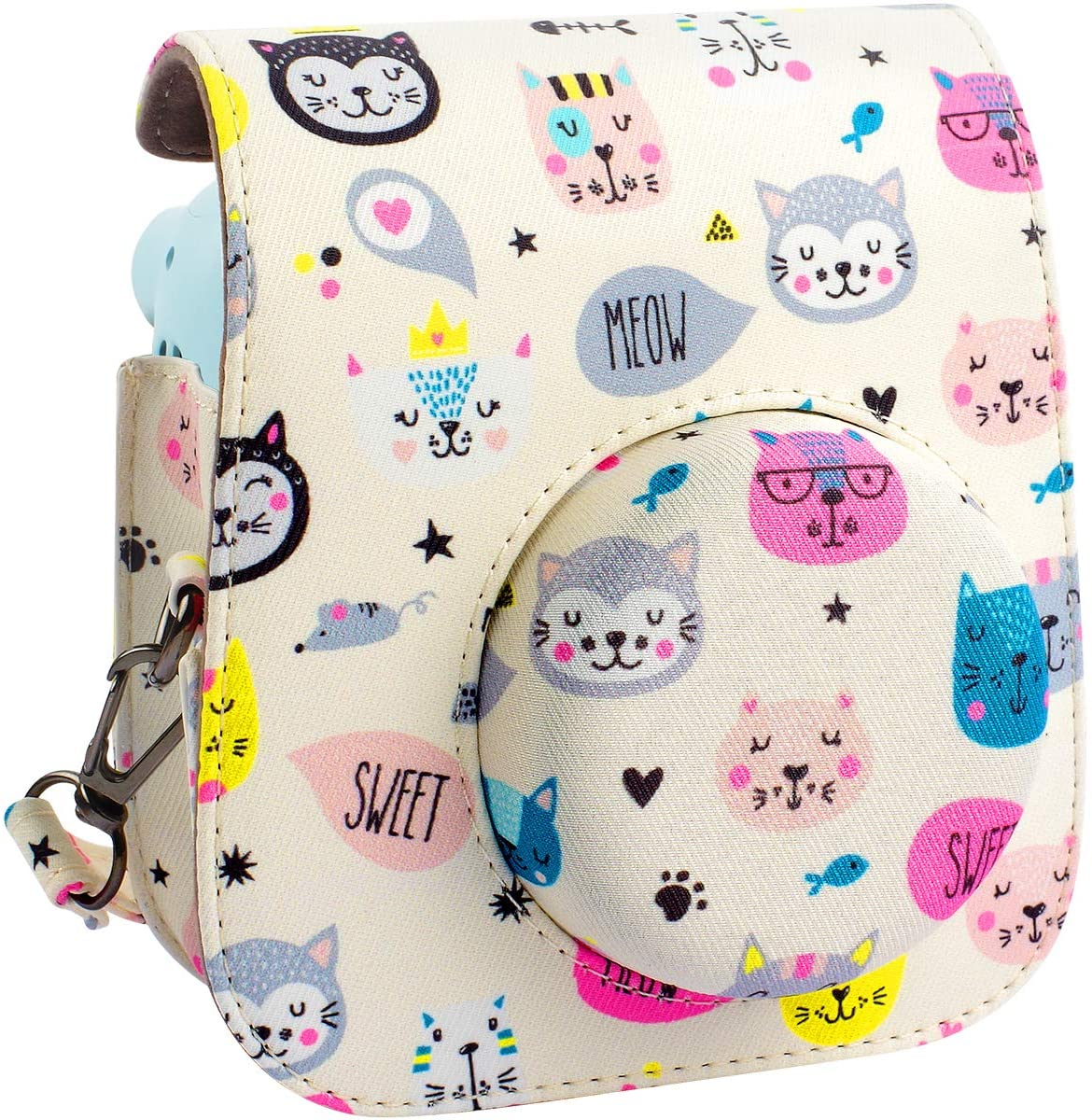 Protective & Portable Case Compatible with Fujifilm Instax Mini 11 Instant Camera with Accessories Pocket and Adjustable Strap. (Kitty)