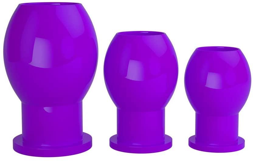 Silicone Hollow Butt Plug Trainning Set Anal Dilator Kit for Man (Purple)