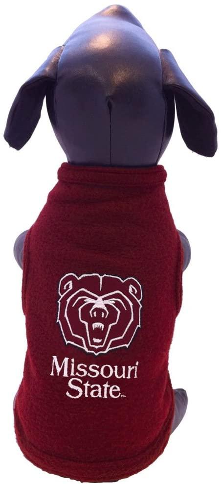 NCAA Missouri State Sleeveless Polar Fleece Dog Sweatshirt, Small