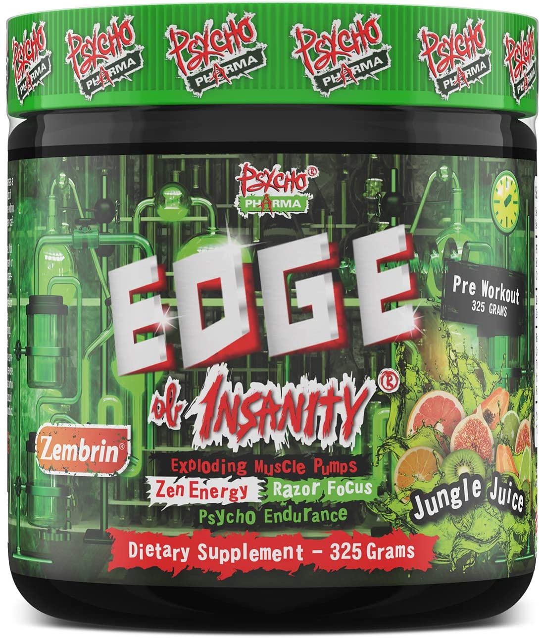 New New Perfect Powders with Zembrin Zen Energy Feel Good Focus #1 Strongest PWO Psycho Pharma Edge of Insanity - Most Intense Workout Powder, Focus & 8G Citrulline Pumps - 325 Gram (Jungle Juice)