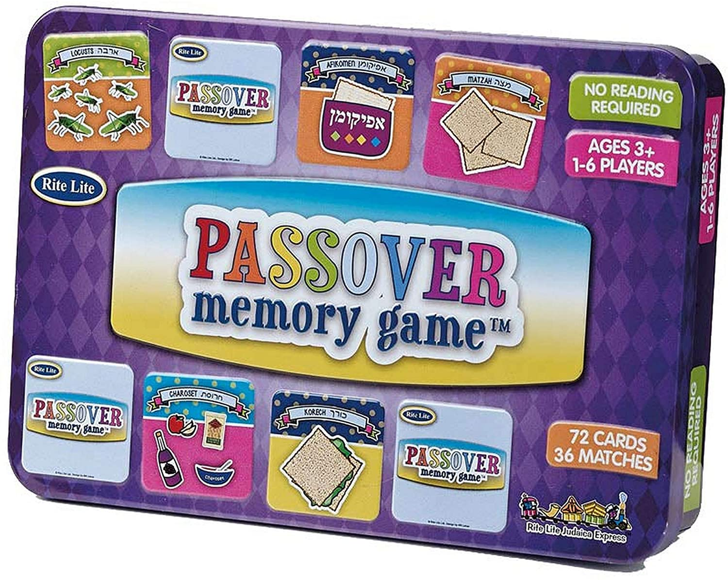 Rite Lite Passover Memory Game Collectible Tin Pack of 72 Cards