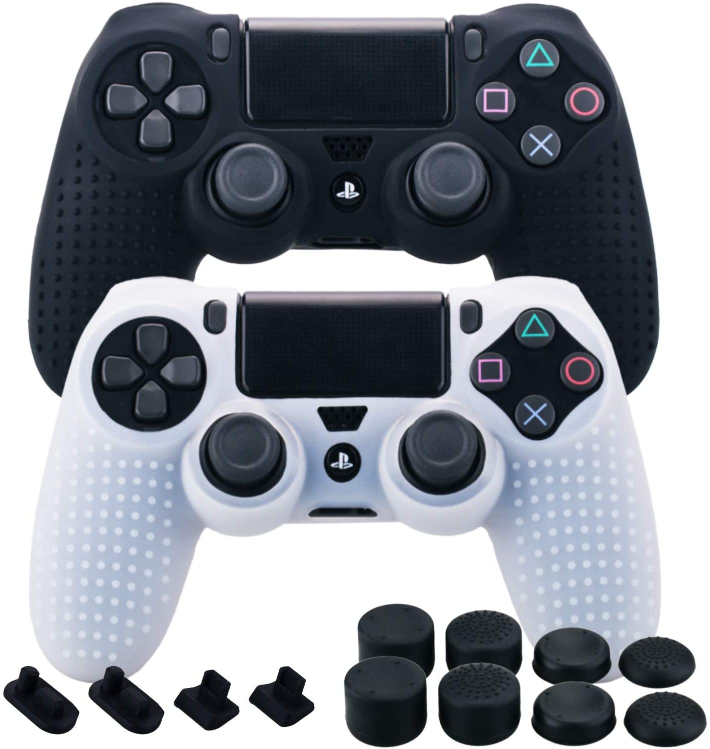 MXRC Silicone Rubber Cover Skin Case X 2 Anti-Slip Studded Dots Customize for PS4/SLIM/PRO Controller x 1(Black & Clear) + FPS PRO Stick Cover Thumb Grips x 8 + Dustproof Plug x 4