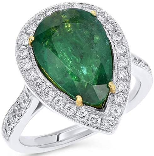 LARGE 5.40CT DIAMOND & AAA EMERALD 18K 2 TONE GOLD 3D PEAR SHAPE ENGAGEMENT RING