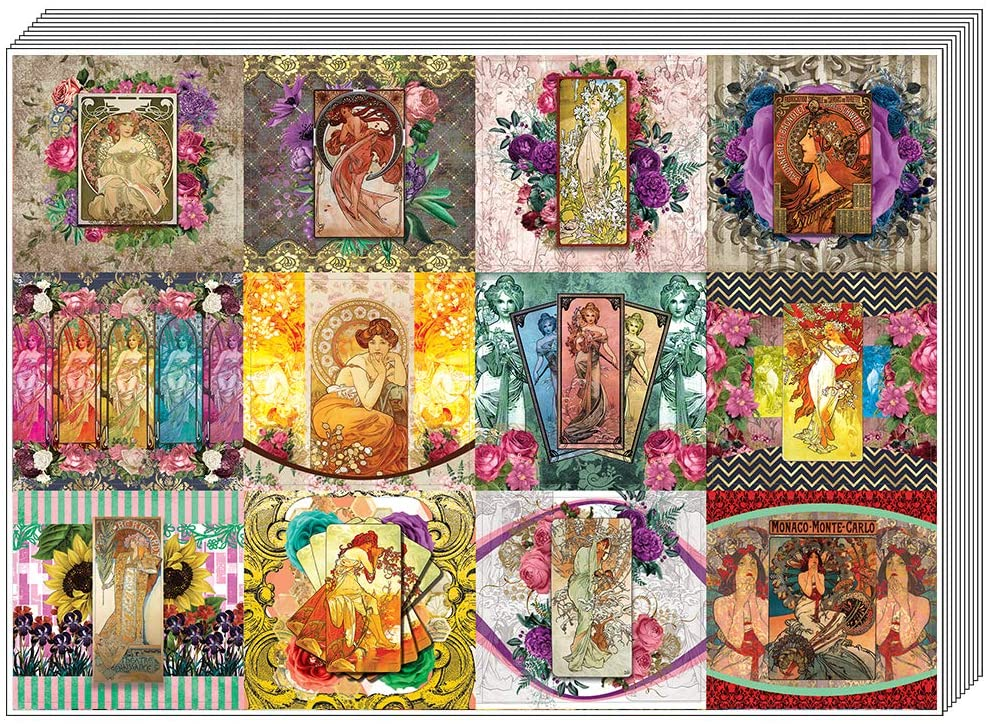 Creanoso Alphonse Mucha Art Stickers (5-Sheet) – Total 60 pcs (5 X 12pcs) Individual Small Size 2.1