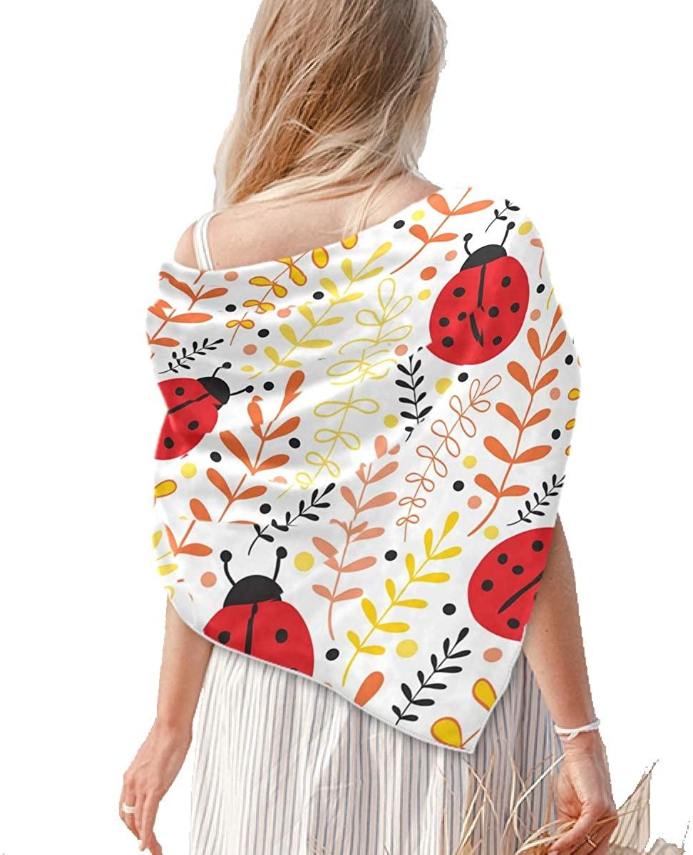 Square Silk Feeling Neckerchief - Women's Large Ladybug Square Scarf Shawl - Lightweight Medium Square Scarves for Women Evening Dresses