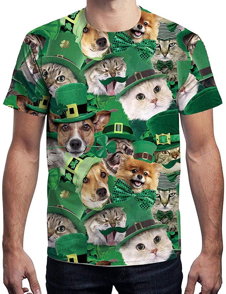 Funic Unisex Men Men St.Patrick's Day Green Four Leaf Clover & Dog Print Short Sleeve Tee Shirt Top