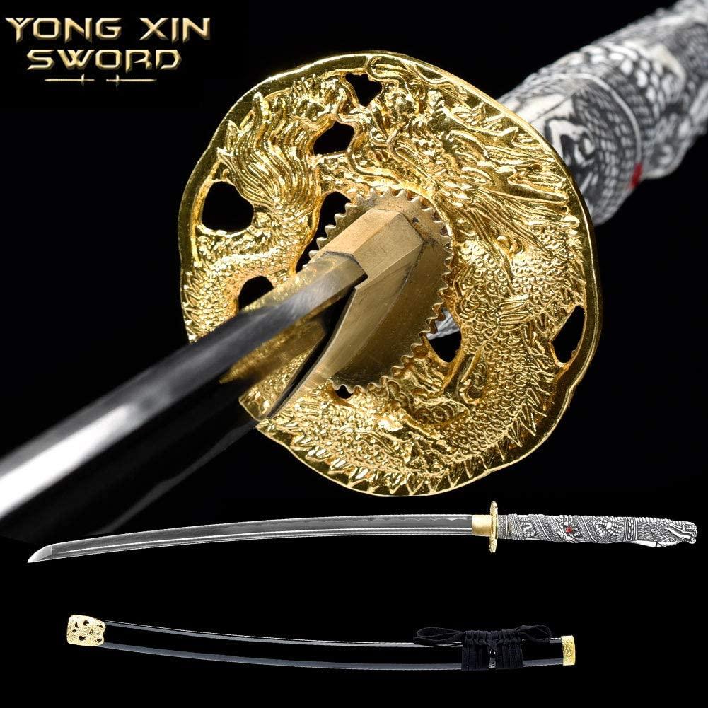 YONG XIN SWORD-Sharp Katana Samurai Sword, Japanese Handmade, Practical, 1060 Carbon Steel, Tempered/Clay Tempered, Full Tang,Detailed Dragon Head Handle