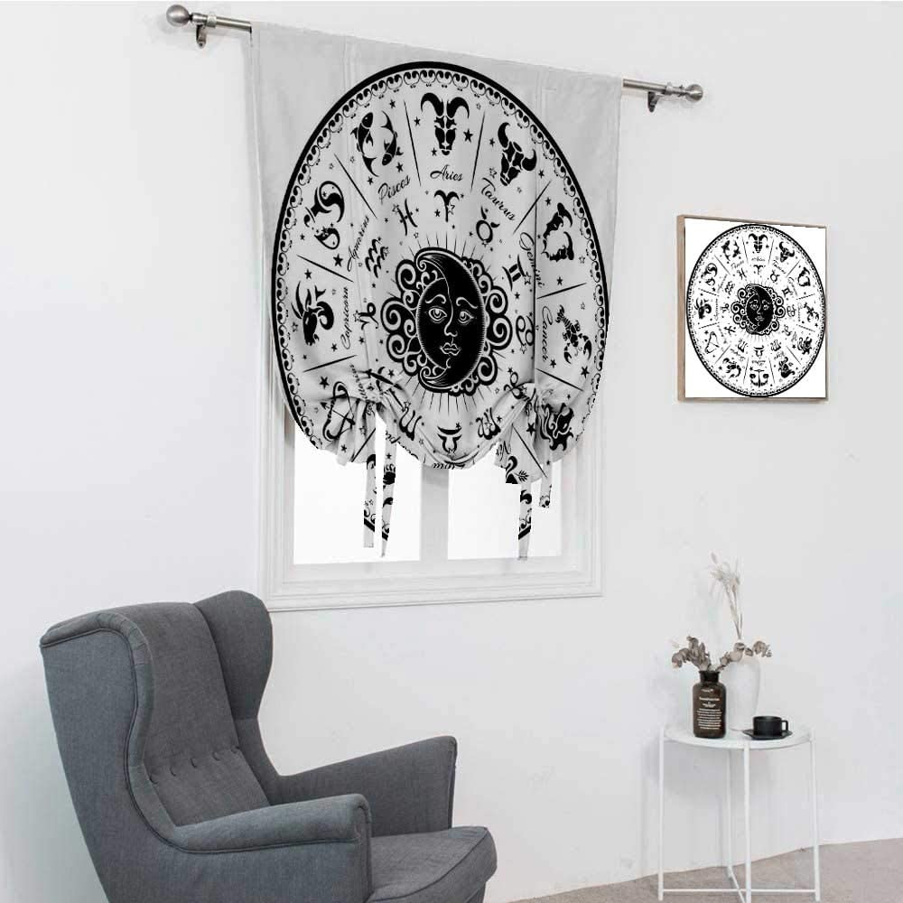 GugeABC Zodiac Decor Roman Shades, Minimalist Rounded Symbols Mystical Outer Space Effects on Character Image Roman Curtains, Black White, 42
